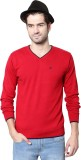 People Woven V-neck Casual Men Red Sweat...