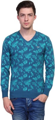 TSAVO Printed V-neck Casual Men's Light Blue Sweater