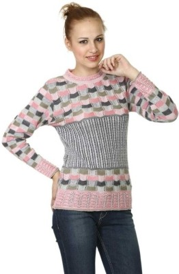 Miss Grace Checkered Turtle Neck Casual Women's Pink Sweater