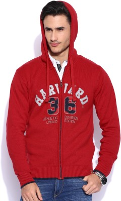 Harvard Self Design Round Neck Casual Men's Red Sweater