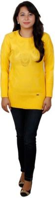 Fashion Club Solid Round Neck Women's Yellow Sweater