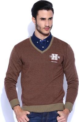 Harvard Self Design V-neck Casual Men's Maroon, Green Sweater