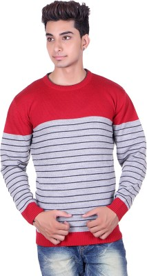 Pierre Carlo Solid, Striped Round Neck Casual Men's Red Sweater