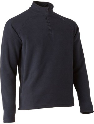 Quechua Solid Turtle Neck Casual Men's Black Sweater