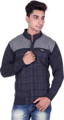 Pierre Carlo Woven, Solid Round Neck Casual Men's Grey Sweater