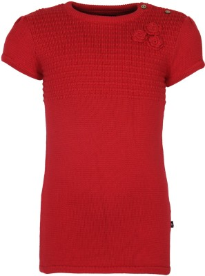 Bells and Whistles Solid Round Neck Casual Baby Girl's Red Sweater