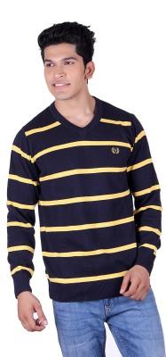Ogarti Solid, Striped V-neck Casual Men,s Dark Blue, Gold Sweater