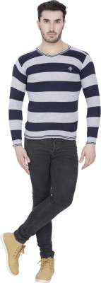 Alay Striped V-neck Casual, Party, Formal, Sports, Festive, Lounge Wear Men's Black Sweater