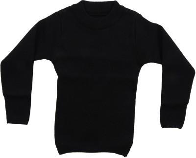 AKHIL & AARNA Solid Round Neck Baby Boy's Black Sweater