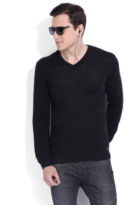 Arrow New York Self Design V-neck Casual Mens Black Sweater