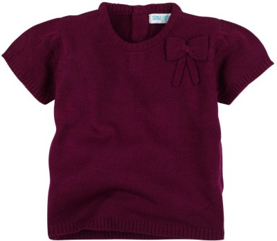 Snuggles Solid Round Neck Casual Baby Girl's Purple Sweater