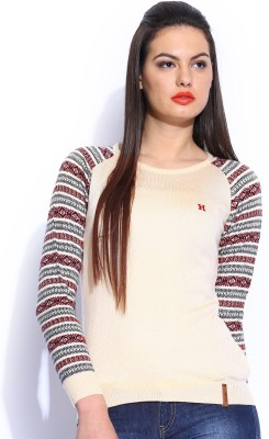 Harvard Solid Round Neck Casual Women,s White Sweater