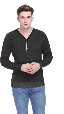 CLUB YORK Solid V-neck Casual Men's Grey Sweater