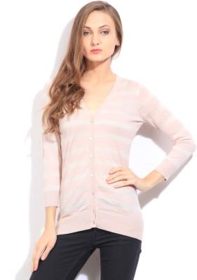 Arrow Striped Casual Women's Pink Sweater