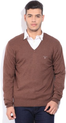 Gant V-neck Casual Mens Brown Sweater