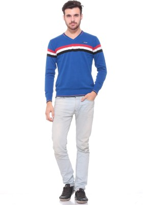 Pro Riders Striped V-neck Casual Men's Blue Sweater