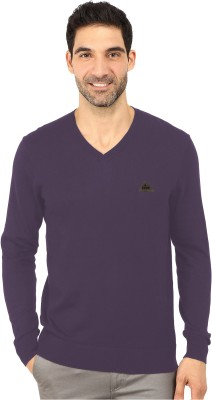Bansal Knitwears Solid V-neck Men's Purple Sweater