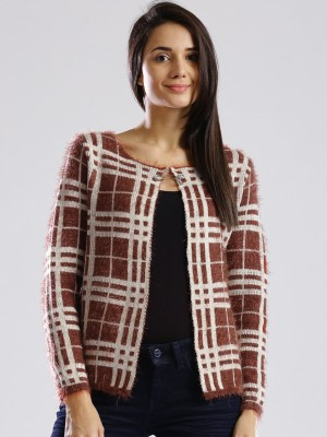 Dressberry Checkered Round Neck Casual Women's Brown Sweater