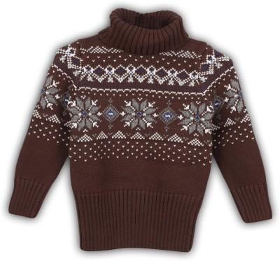 Lilliput Self Design Turtle Neck Casual Boy's Brown Sweater