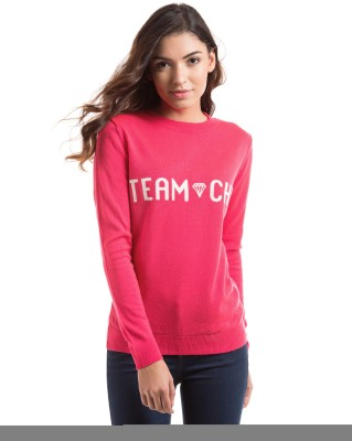 Shuffle Solid Round Neck Casual Women's Pink Sweater