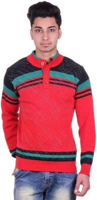 Urban Street Solid, Striped Turtle Neck Casual, Party Men's Red Sweater