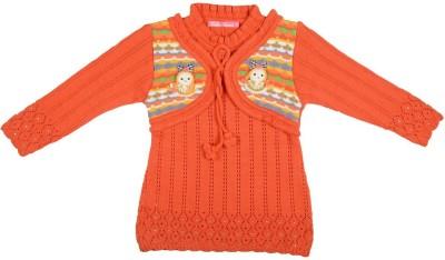 Palmer Solid Round Neck Girl,s Orange Sweater