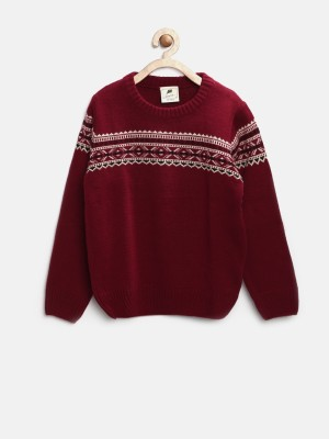 Yk Self Design Round Neck Casual Girl,s Maroon Sweater