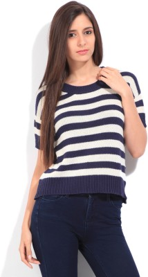 Lee Striped Round Neck Casual Women White, Dark Blue Sweater at flipkart