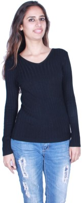 GnC Solid Round Neck Casual, Formal, Sports, Party Women's Black Sweater
