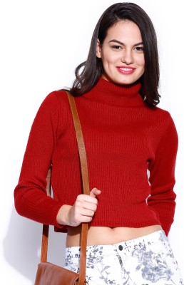 Dressberry Solid Turtle Neck Casual Women's Red Sweater