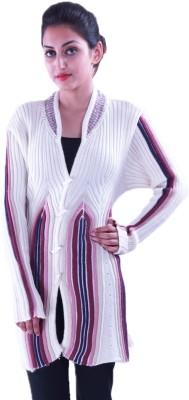 Pazaro Self Design V-neck Casual Women's White Sweater