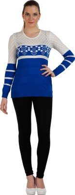 Skidlers Geometric Print Round Neck Casual, Festive, Party Women's Blue Sweater