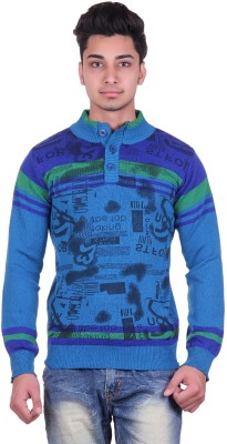 Urban Street Solid, Striped, Graphic Print Turtle Neck Casual, Party Men's Blue Sweater