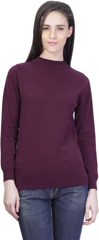 Kalt Solid Turtle Neck Casual Women Maroon Sweater