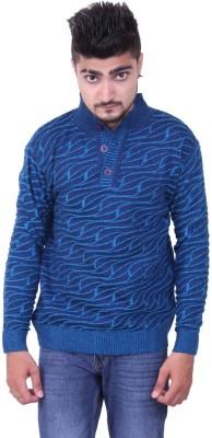 Austrich Floral Print V-neck Casual Men's Blue Sweater