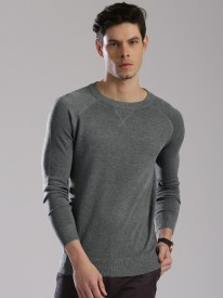 HRX by Hrithik Roshan Solid Round Neck Casual Men Grey Sweater