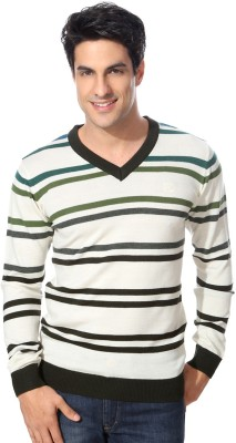 Van Heusen Striped V-neck Casual Men's White Sweater