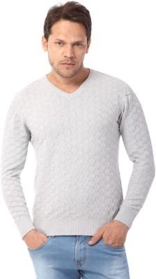 Club Fox Self Design V-neck Casual Men's Grey Sweater