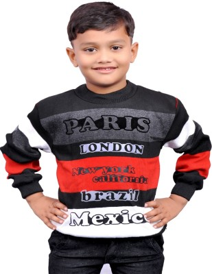 AD & AV Printed Round Neck Casual Boys Black Sweater