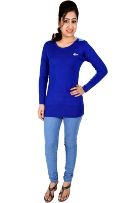 SLS Solid Round Neck Casual Women's Blue Sweater