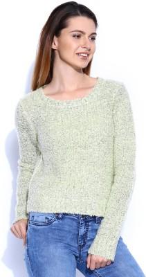 Mast & Harbour Self Design Round Neck Casual Women,s Light Green Sweater