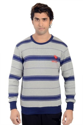 Parv Collections Striped Round Neck Casual Men's Grey Sweater