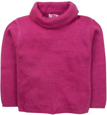 Oye Solid Round Neck Casual Girl's Pink Sweater