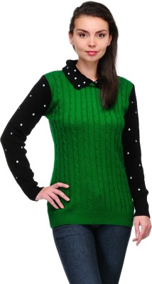 Belle Solid Round Neck Casual Women,s Green Sweater