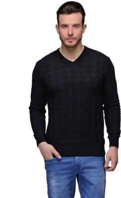 Tailor Craft Solid V-neck Casual Men's Black Sweater