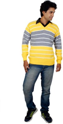Alpine Enterprises Striped V-neck Men's Multicolor Sweater