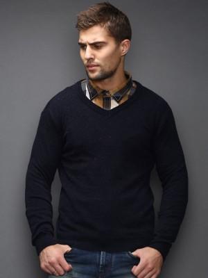 HRX by Hrithik Roshan Solid V-neck Casual Men's Dark Blue Sweater