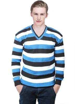 BrandTrendz Striped V-neck Casual Men's Blue Sweater