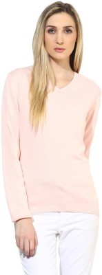 Tshirt Company Solid V-neck Casual Women's Pink Sweater