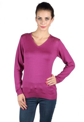 Again Solid V-neck Casual Women's Red Sweater